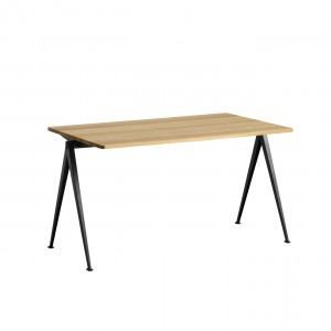 PYRAMID Table black powder coated steel - clear lacquered M
