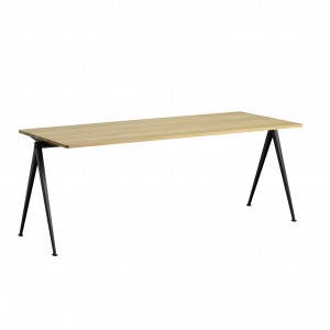 PYRAMID Table black powder coated steel - clear lacquered L