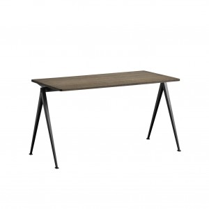 PYRAMID Table black powder coated steel - smoked oiled oak