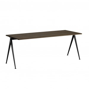 PYRAMID Table black powder coated steel - smoked oiled oak L