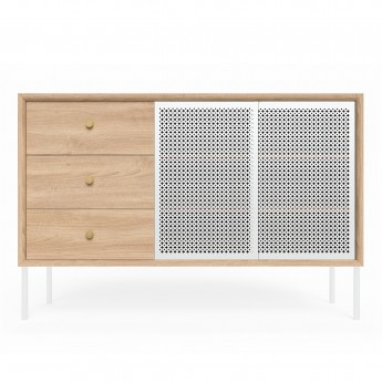 High sideboard GABIN - Oak / white door