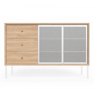 High sideboard GABIN - Oak / white door