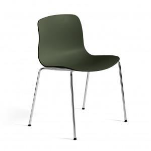 Chaise AAC 16 - Green, pieds acier chromé