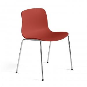 AAC 16 chair - Warm red, chromed steel leg base
