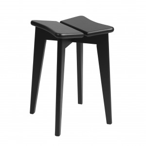 Tabouret TREFLE - Chêne teinté noir mat