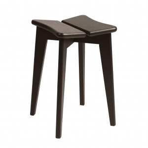TREFLE stool - Brown/Black stained oak lacquered