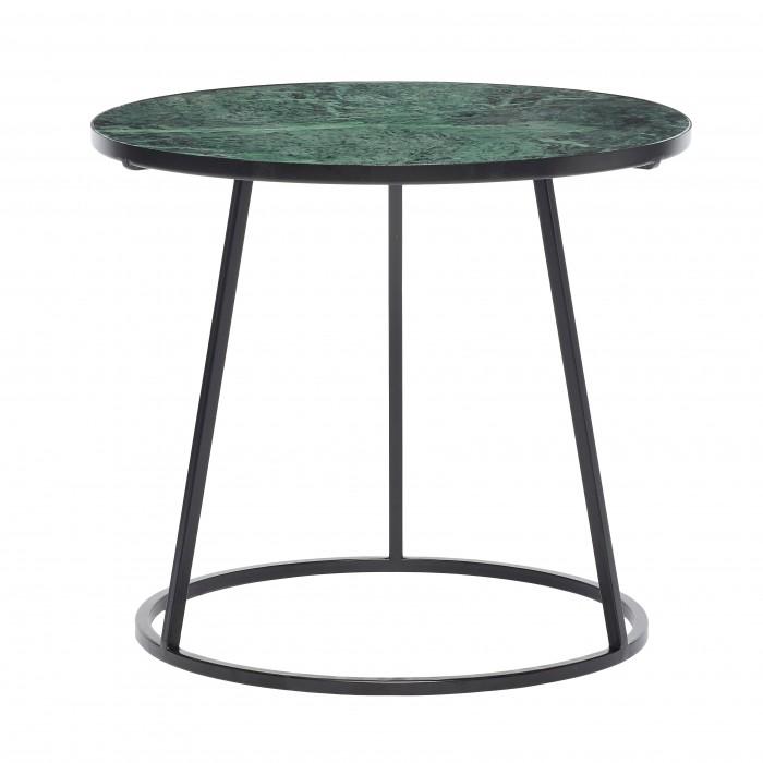 Table basse en marbre vert - métal noir
