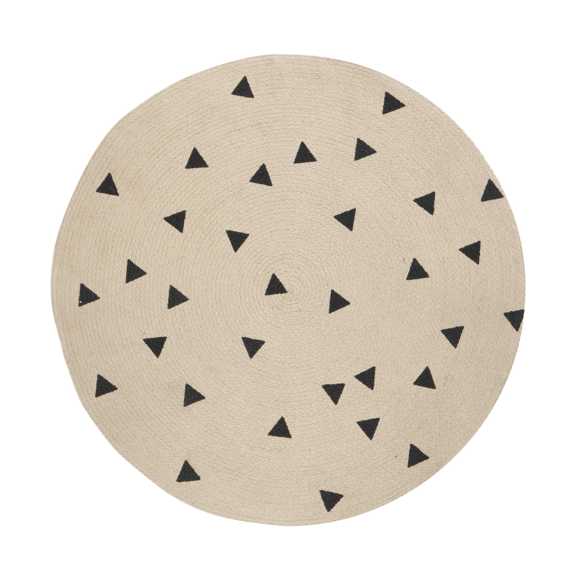 Tapis rond   triangles noir 100% coton organique Ferm living