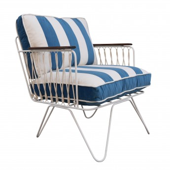 CROISETTE Armchair velvet blue stripes