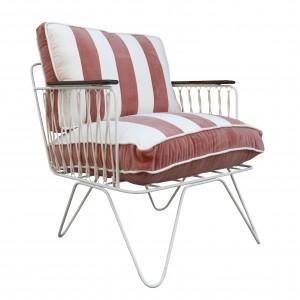 CROISETTE Armchair velvet pink stripes