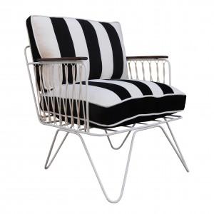 CROISETTE armchair velvet black stripes