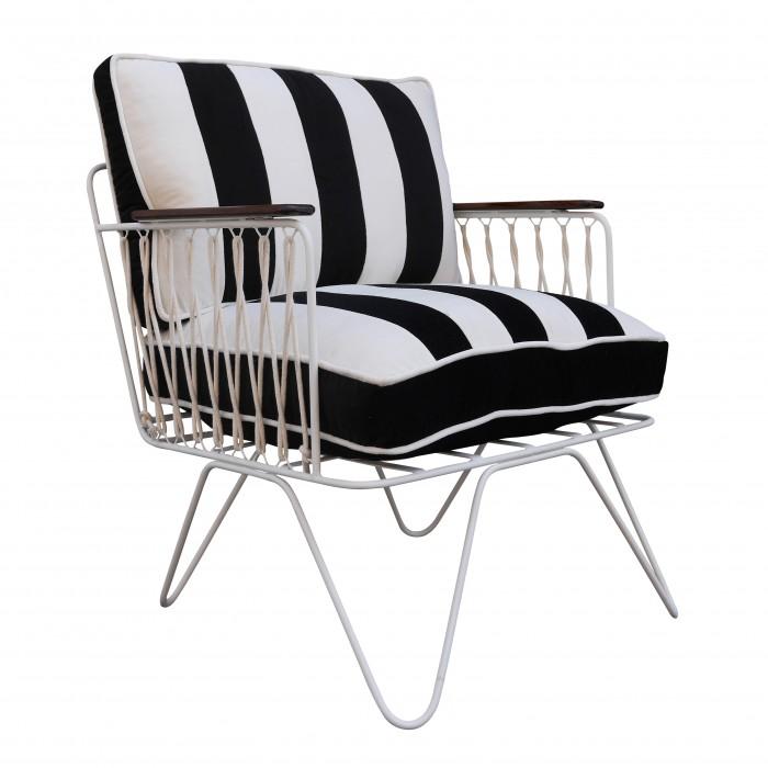 CROISETTE Armchair velvet noir stripes