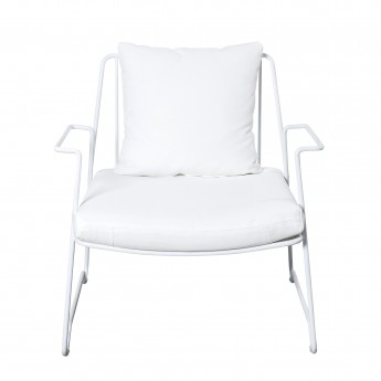 LOUNGE white armchair with accotoir