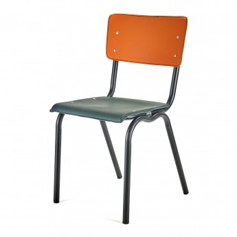 Chaise VYNIL verte et orange