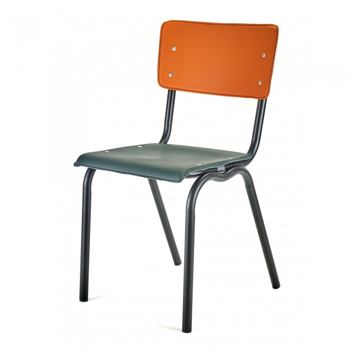 Chaise VYNIL verte et orange