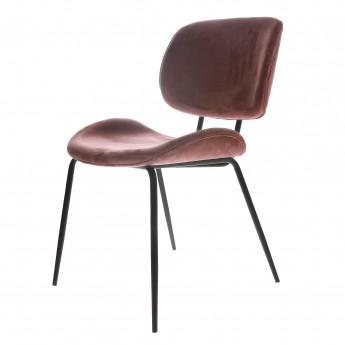 Chaise tissu velours - rose