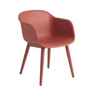 FIBER Arm chair wood base dusty red