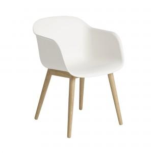 FIBER armchair wood base dusty white