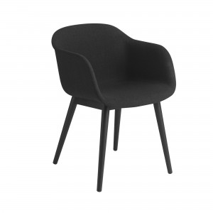 FIBER armchair wood base - black fabric