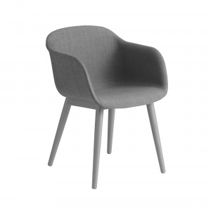 FIBER armchair wood base - grey fabric