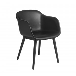 FIBER armchair wood base - black refine leather