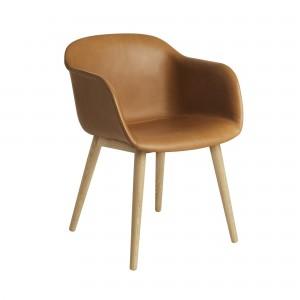 FIBER armchair wood base - cognac refine leather