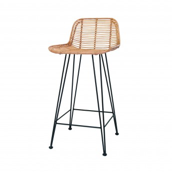 Bar stool RATTAN - Black