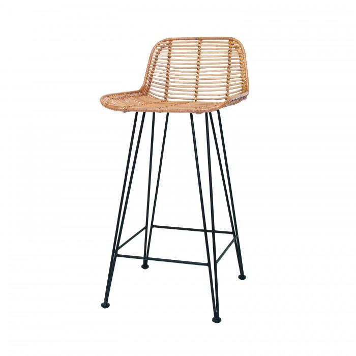 Bar stool RATTAN - Black