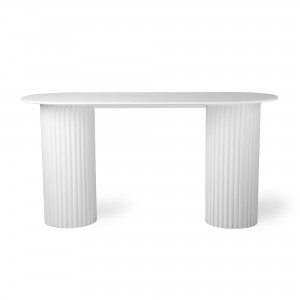 Oval side table PILLAR - White