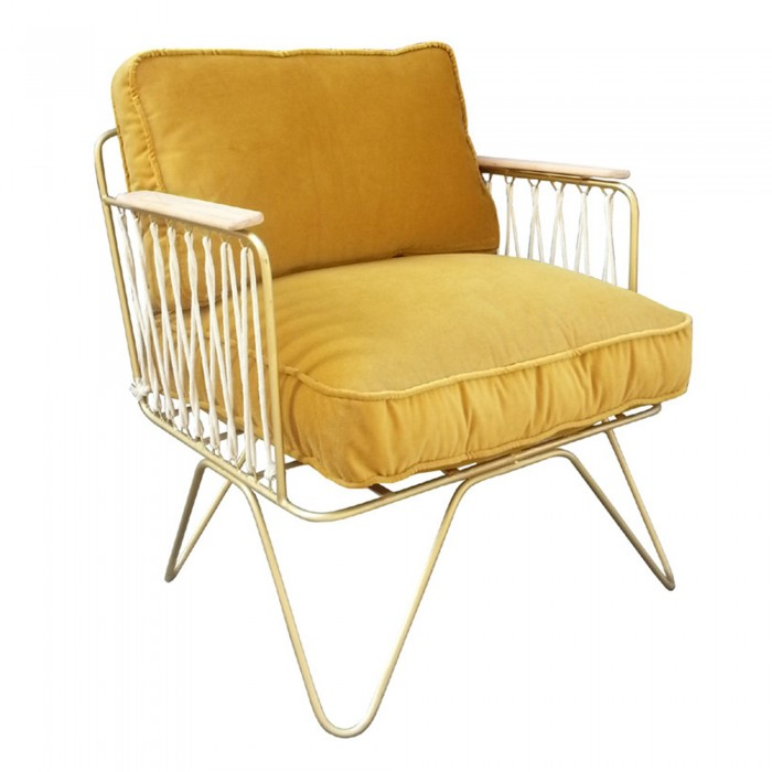 CROISETTE Armchair velvet matte gold