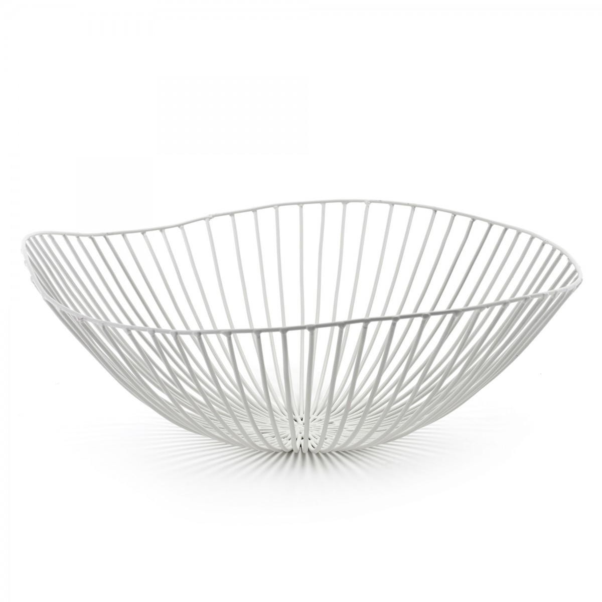 cesira white fruit basket in metallic wire