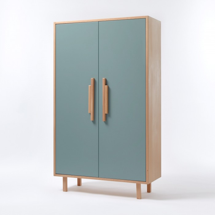 INVADER closet Blue oval blue - natural handles
