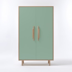 INVADER closet Mesclun green - natural handles
