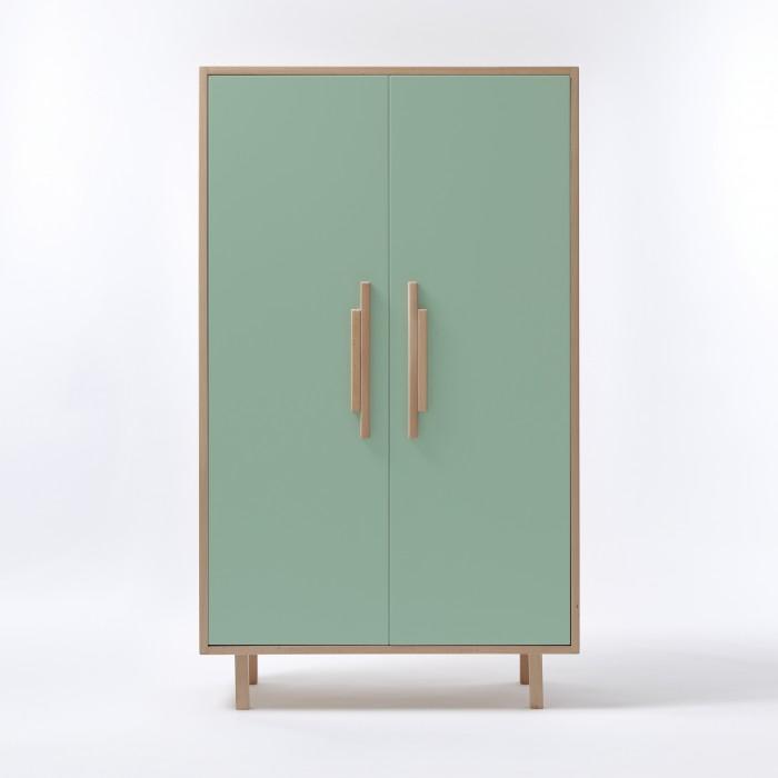 INVADER closet Mesclun green - natural handles