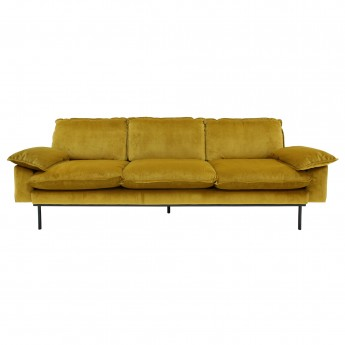 RETRO 4 seater sofa - Ochre velvet