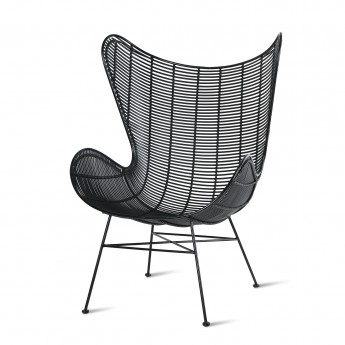 EGG armchair - Black rattan - Outdoor