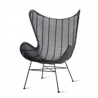 EGG armchair - Black rattan - Outdoor
