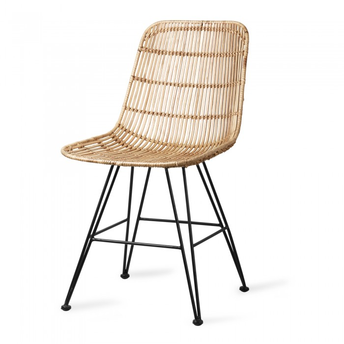 Chair in rattan with steel base - HK Living
