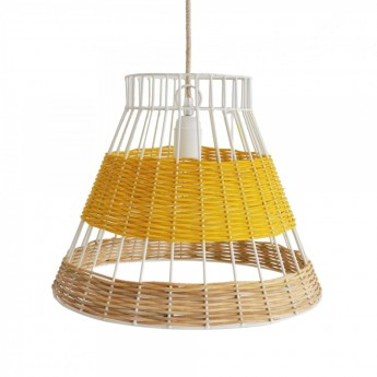 Suspension rotin STRAW jaune