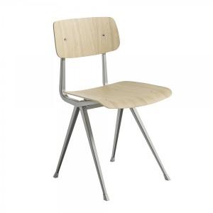 Chaise RESULT acier beige gris - chêne laqué