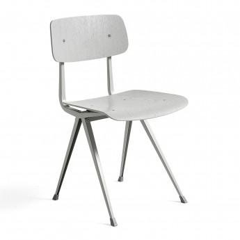 RESULT Chair light grey powder coated steel - matt oak