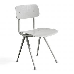 Chaise RESULT acier beige gris - chêne teinté gris