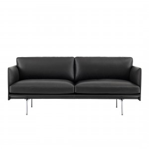OUTLINE 2 seater sofa - black leather