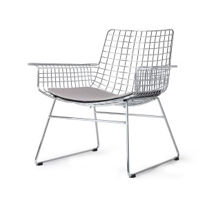 Metal wire lounge chair - silver
