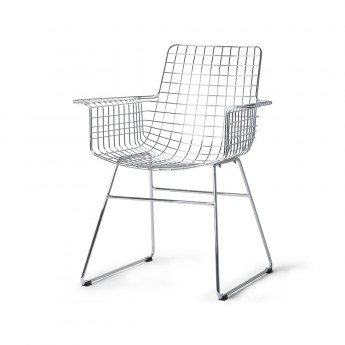 Chaise Wire avec accoudoirs - Chrome