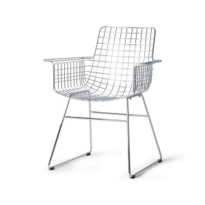 Metal wire chair with arms - silver