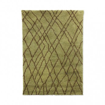 Woolen rug ZIGZAG - olive brown