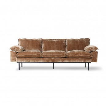 Aged velvet RETRO 3 seater sofa brown