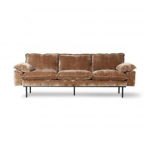 RETRO 3 seater sofa - Brown velvet