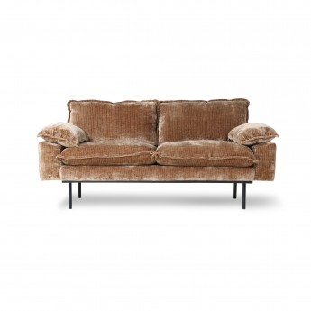 Aged velvet RETRO 2 seater sofa brown